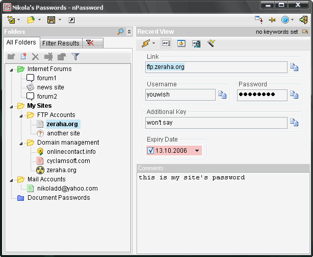 Light, standalone, secure and portable password manager application.